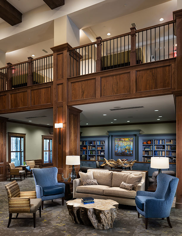 The Glen at Lake Oconee Library & Social Area THW Interior Design Senior Living
